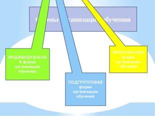 Формы организации обучения ИНДИВИДУАЛЬНАЯ форма организации обучения ПОДГРУПП