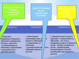 ИНДИВИДУАЛЬНАЯ форма организации обучения ПОДГРУППОВАЯ форма организации обуч
