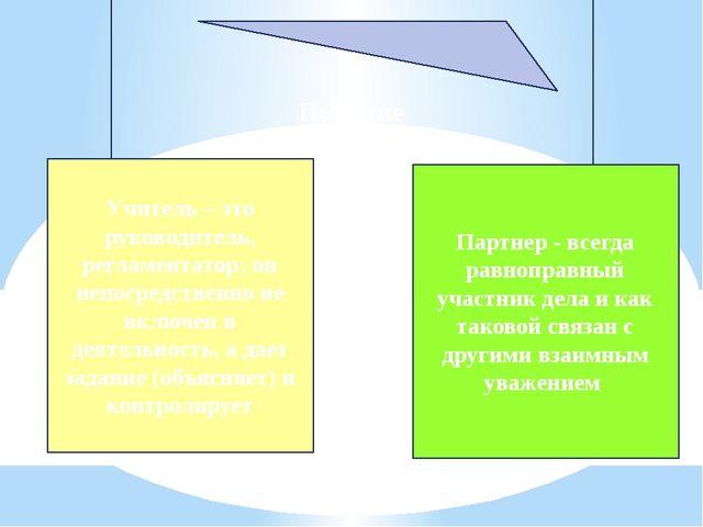 Понятие Учитель – это руководитель, регламентатор; он непосредственно не вклю...