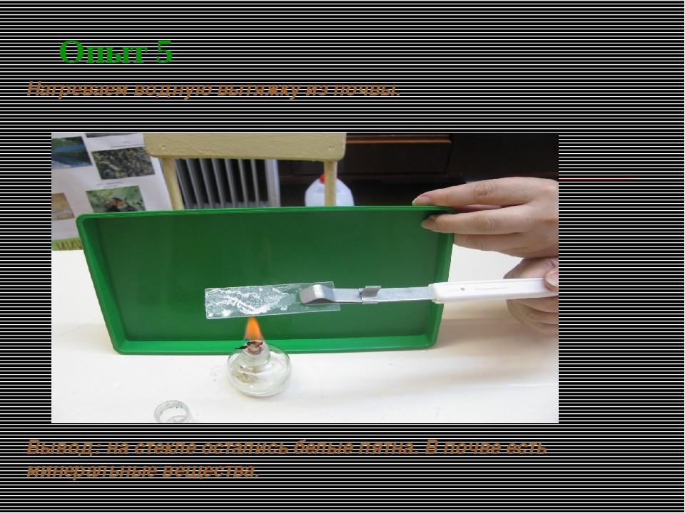 Опыт 5 Нагреваем водную вытяжку из почвы. Вывод: на стекле остались белые пят...