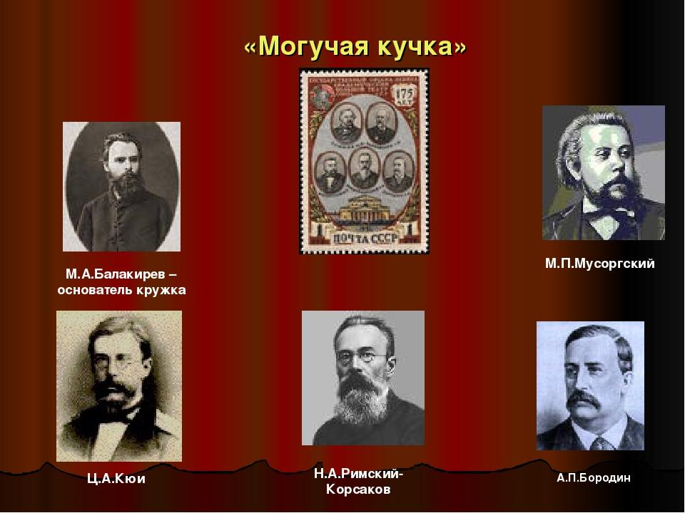 «Могучая кучка» М.А.Балакирев – основатель кружка М.П.Мусоргский Н.А.Римский...