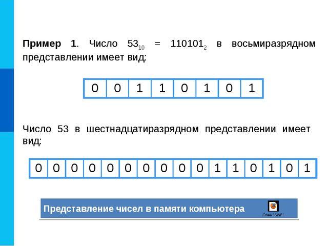 Пример 1. Число 5310 = 1101012 в восьмиразрядном представлении имеет вид: Чис...