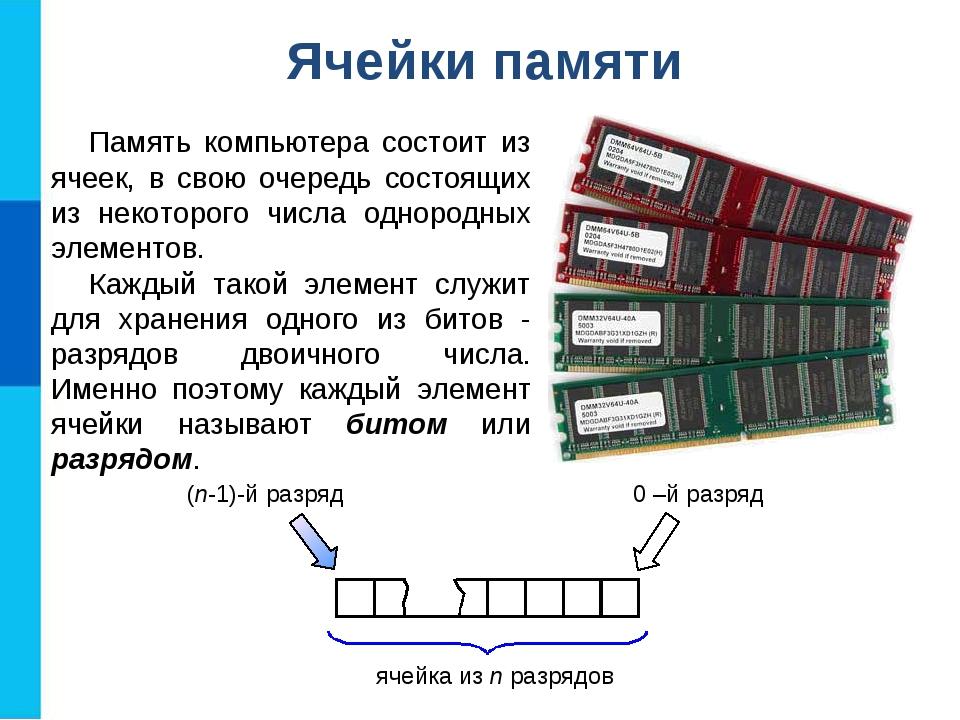 Ячейки памяти Память компьютера состоит из ячеек, в свою очередь состоящих из...