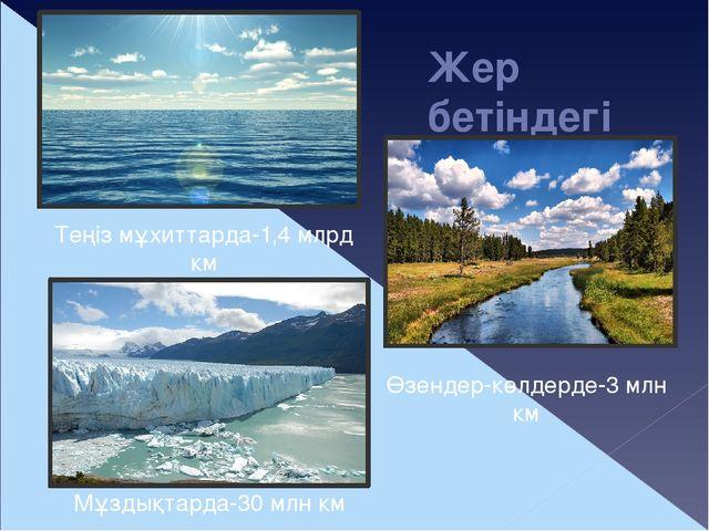 Жер бетіндегі судың қоры Өзендер-көлдерде-3 млн км Теңіз мұхиттарда-1,4 млрд...