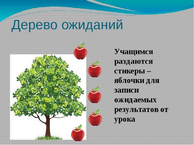 Дерево ожиданий Учащимся раздаются стикеры – яблочки для записи ожидаемых рез...