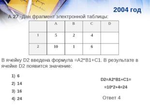 А 27 -Дан фрагмент электронной таблицы: В ячейку D2 введена формула =А2*В1+С1
