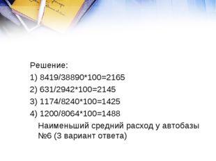 Решение: 1) 8419/38890*100=2165 2) 631/2942*100=2145 3) 1174/8240*100=1425 4)