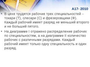 А17- 2010 В цехе трудятся рабочие трех специальностей – токари (Т), слесари
