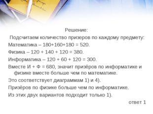 Решение: Подсчитаем количество призеров по каждому предмету: Математика – 180
