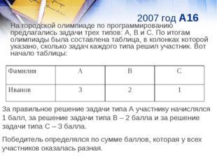 2007 год A16 На городской олимпиаде по программированию предлагались задачи