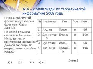 А16 – с олимпиады по теоретической информатике 2009 года Ниже в табличной фо