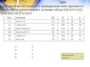 2007 Какое количество записей в приведенном ниже фрагменте прайс-листа уд