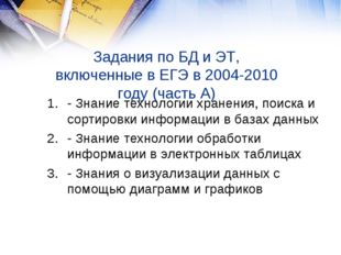 Задания по БД и ЭТ, включенные в ЕГЭ в 2004-2010 году (часть А) - Знание техн