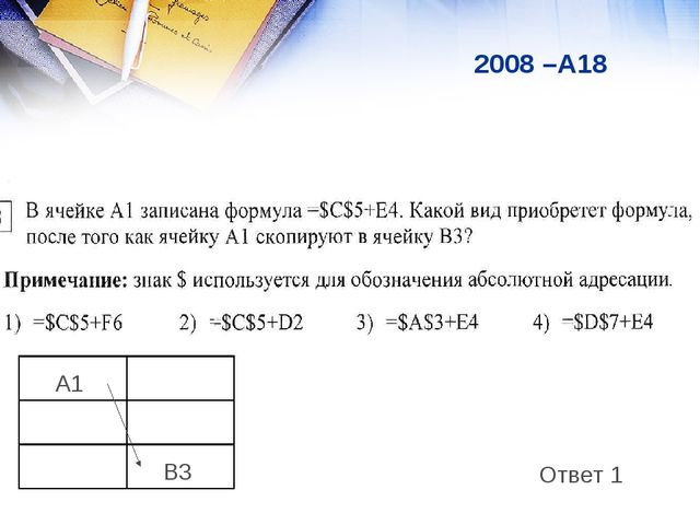 2008 –А18 Ответ 1 A1  B3