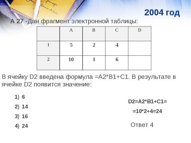 А 27 -Дан фрагмент электронной таблицы: В ячейку D2 введена формула =А2*В1+С1...