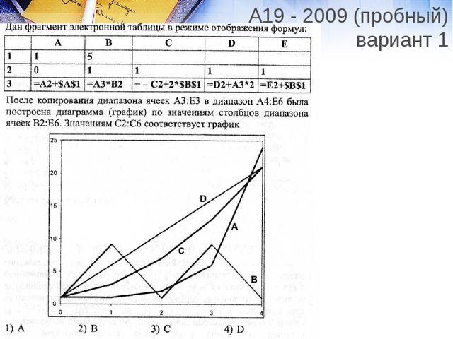 А19 - 2009 (пробный) вариант 1