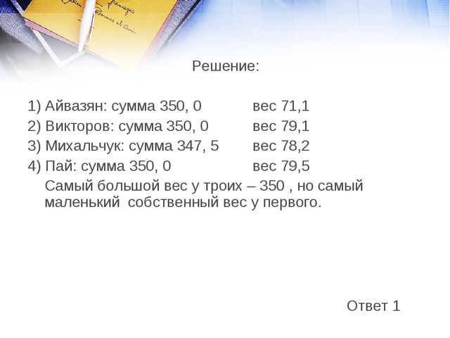 Решение: 1) Айвазян: сумма 350, 0 вес 71,1 2) Викторов: сумма 350, 0 вес 7...