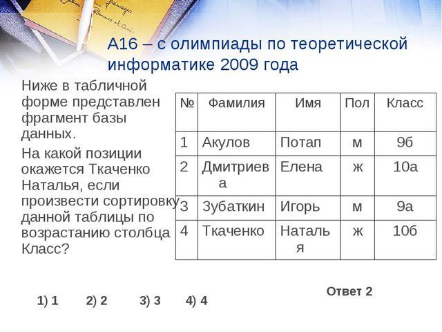А16 – с олимпиады по теоретической информатике 2009 года Ниже в табличной фо...