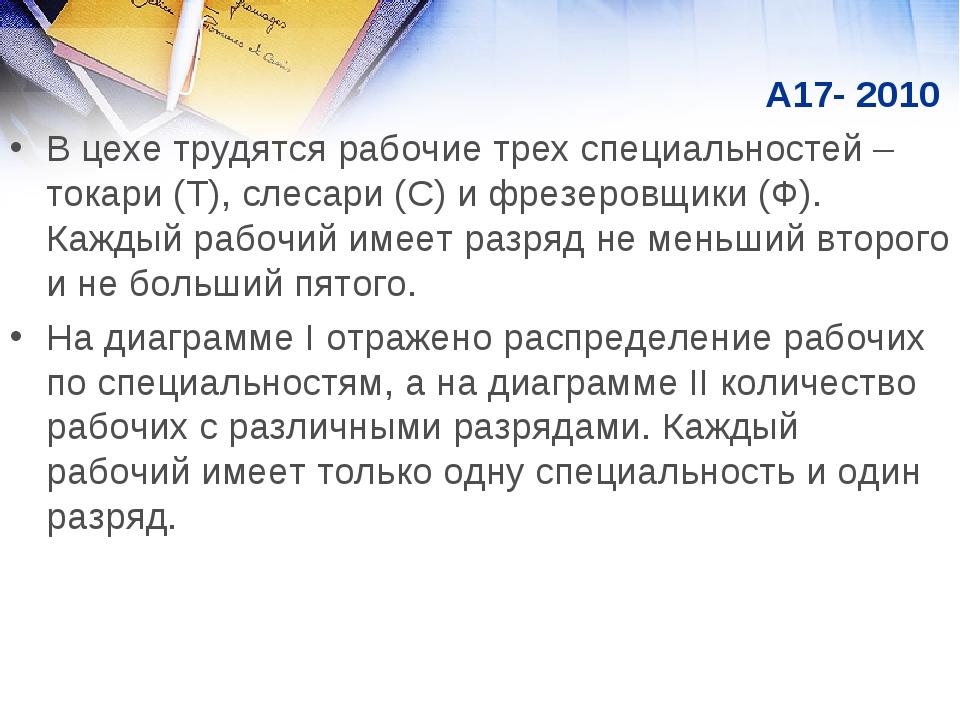 А17- 2010 В цехе трудятся рабочие трех специальностей – токари (Т), слесари...