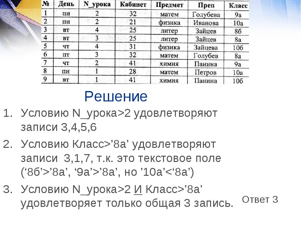 Решение Условию N_урока>2 удовлетворяют записи 3,4,5,6 Условию Класс>'8a' удо...