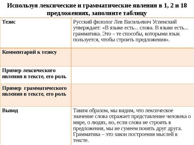 Используя лексические и грамматические явления в 1, 2 и 18 предложениях, запо...