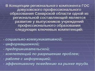 В Концепции регионального компонента ГОС довузовского профессионального образ