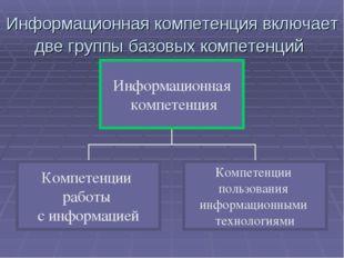 Информационная компетенция включает две группы базовых компетенций