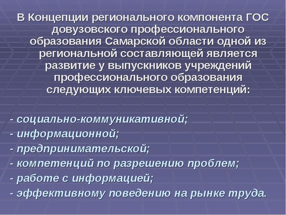 В Концепции регионального компонента ГОС довузовского профессионального образ...
