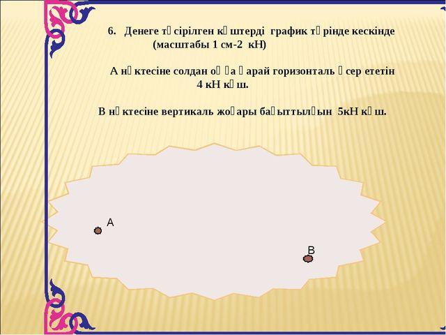 6. Денеге түсірілген күштерді график түрінде кескінде (масштабы 1 см-2 кН) А...