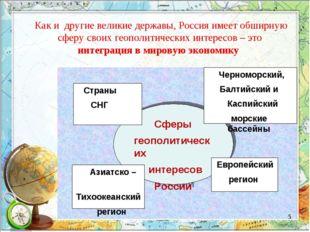 Как и другие великие державы, Россия имеет обширную сферу своих геополитичес