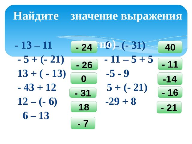 - 13 – 11 9 – (- 31) - 5 + (- 21) - 11 – 5 + 5 13 + ( - 13) -5 - 9 - 43 + 12...