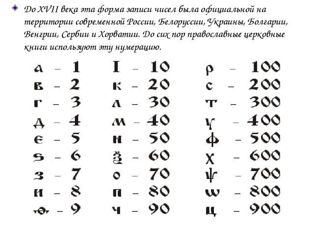 До XVII века эта форма записи чисел была официальной на территории современно...