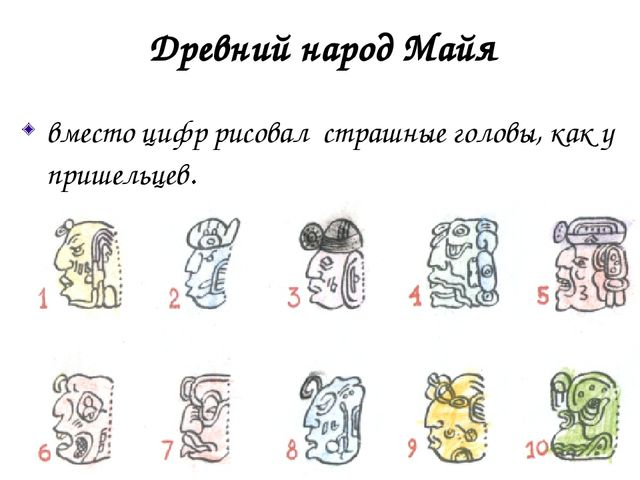 Древний народ Майя вместо цифр рисовал страшные головы, как у пришельцев. и...