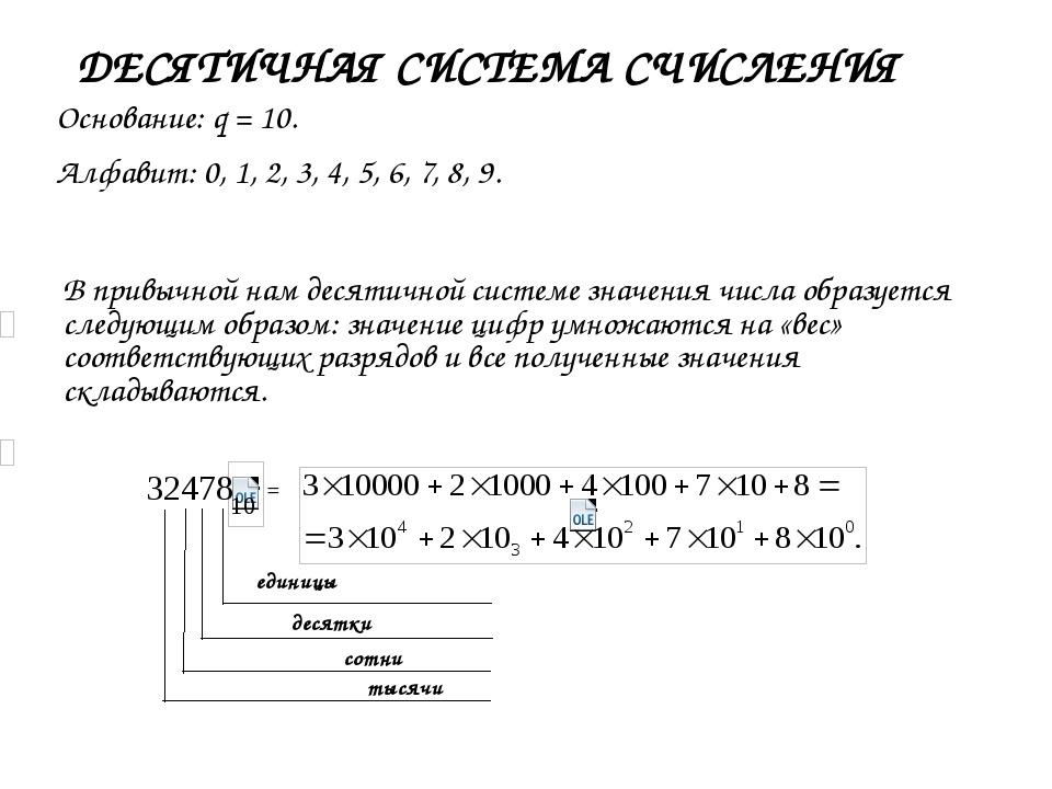 единицы десятки сотни тысячи ДЕСЯТИЧНАЯ СИСТЕМА СЧИСЛЕНИЯ Основание: q = 10....
