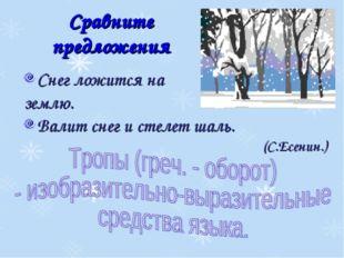 Сравните предложения Снег ложится на землю. Валит снег и стелет шаль. (С.Есен