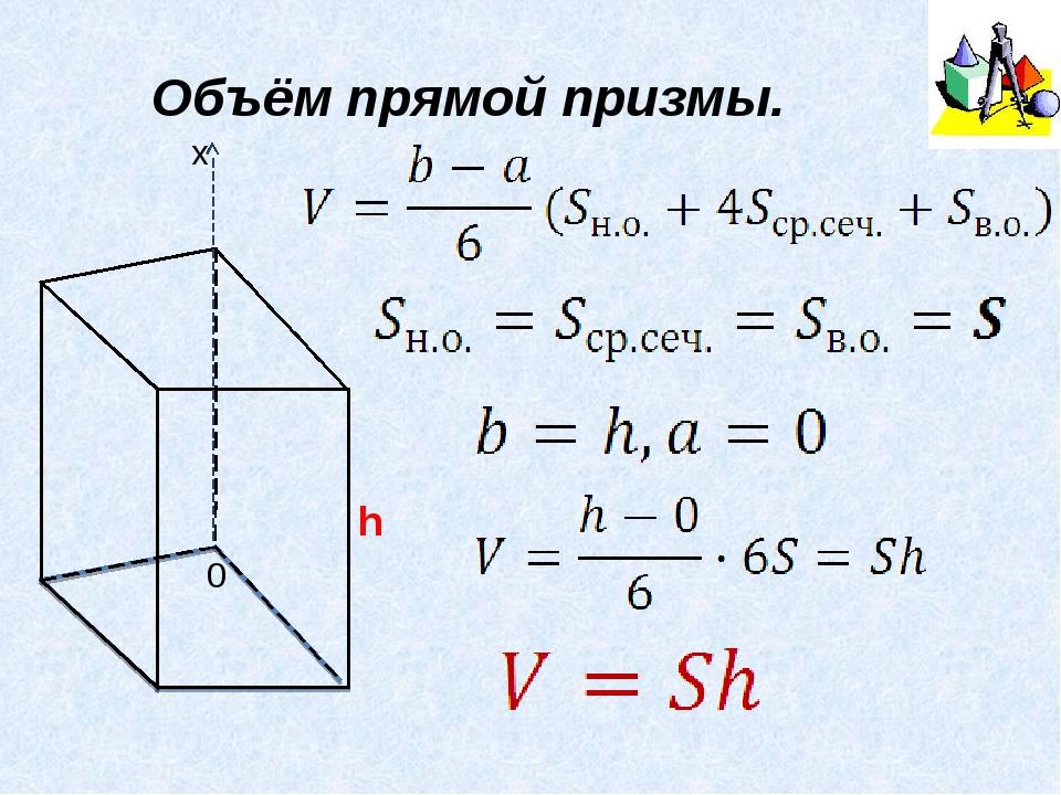Объём прямой призмы. h