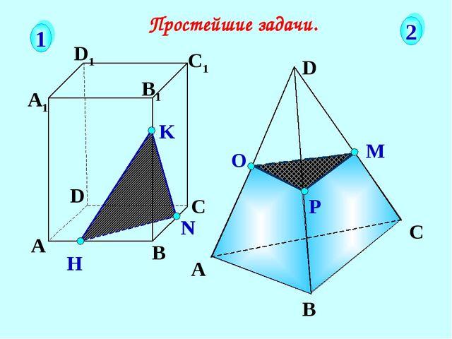 А В С D А1 D1 С1 B1 N H K Простейшие задачи. 1 2