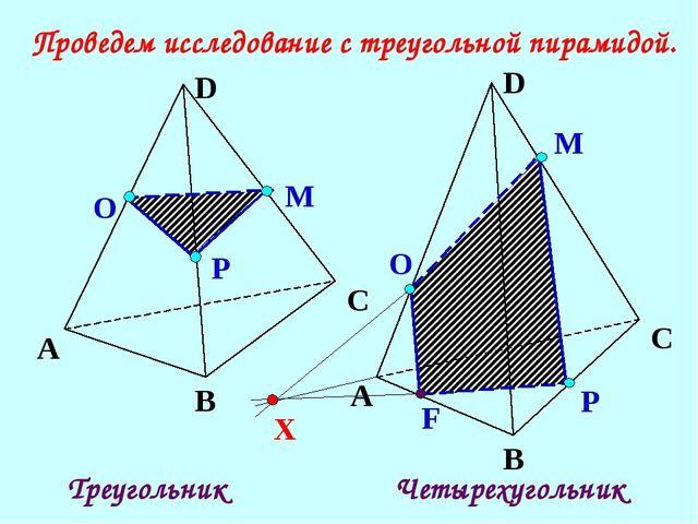 Р Проведем исследование с треугольной пирамидой. Р О М А В С D F Треугольник...