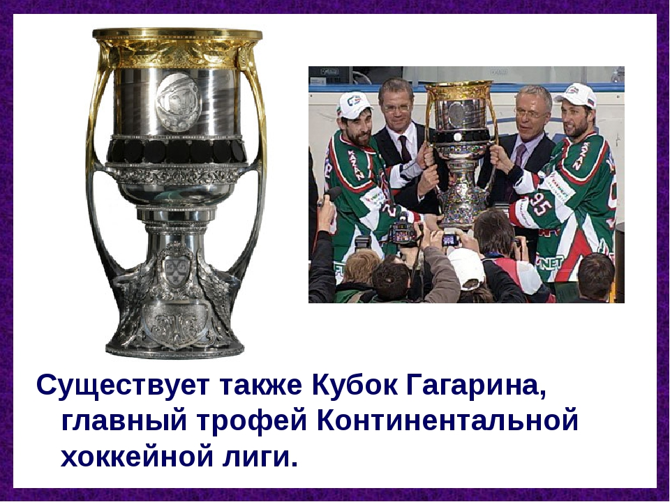 Существует также Кубок Гагарина, главный трофей Континентальной хоккейной лиги.