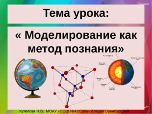 Тема урока: « Моделирование как метод познания» Кутепова Н.В, МОАУ «СОШ №4 г.