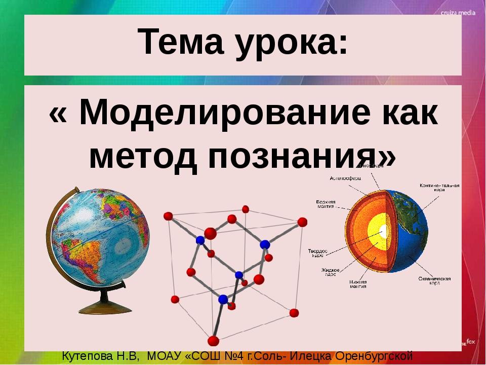 Тема урока: « Моделирование как метод познания» Кутепова Н.В, МОАУ «СОШ №4 г....