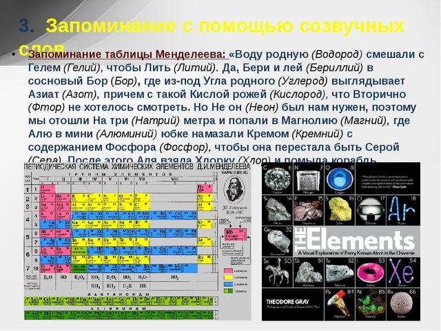 3. Запоминание с помощью созвучных слов Запоминание таблицы Менделеева: «Вод...