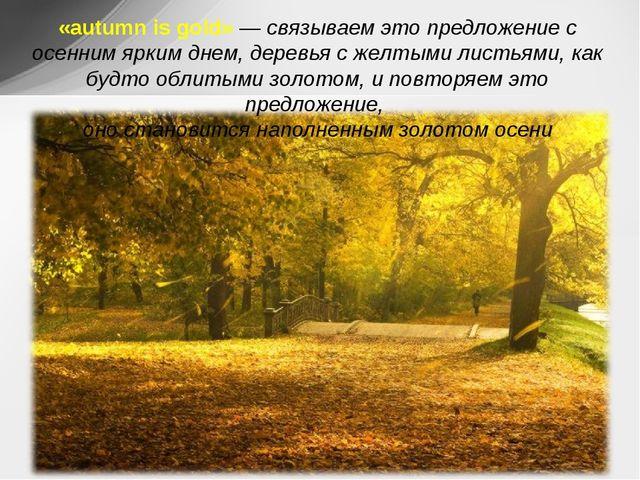 «autumn is gold»— связываем это предложение с осенним ярким днем, деревья с...
