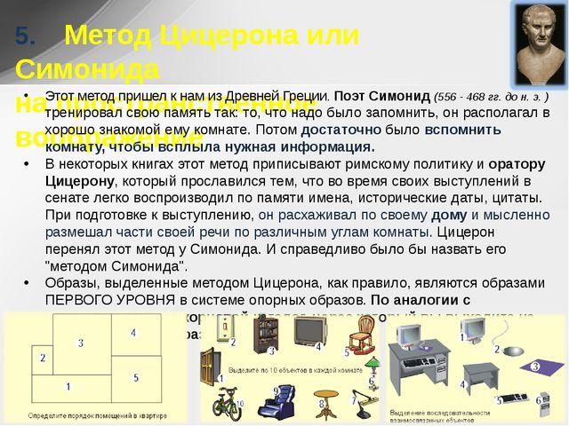5. Метод Цицерона или Симонида на пространственное воображение Этот метод...