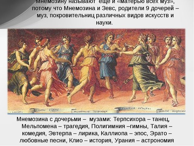 Мнемозину называют ещё и «матерью всех муз», потому что Мнемозина и Зевс, род...