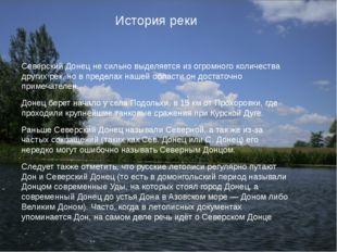 История реки Северский Донец не сильно выделяется из огромного количества др