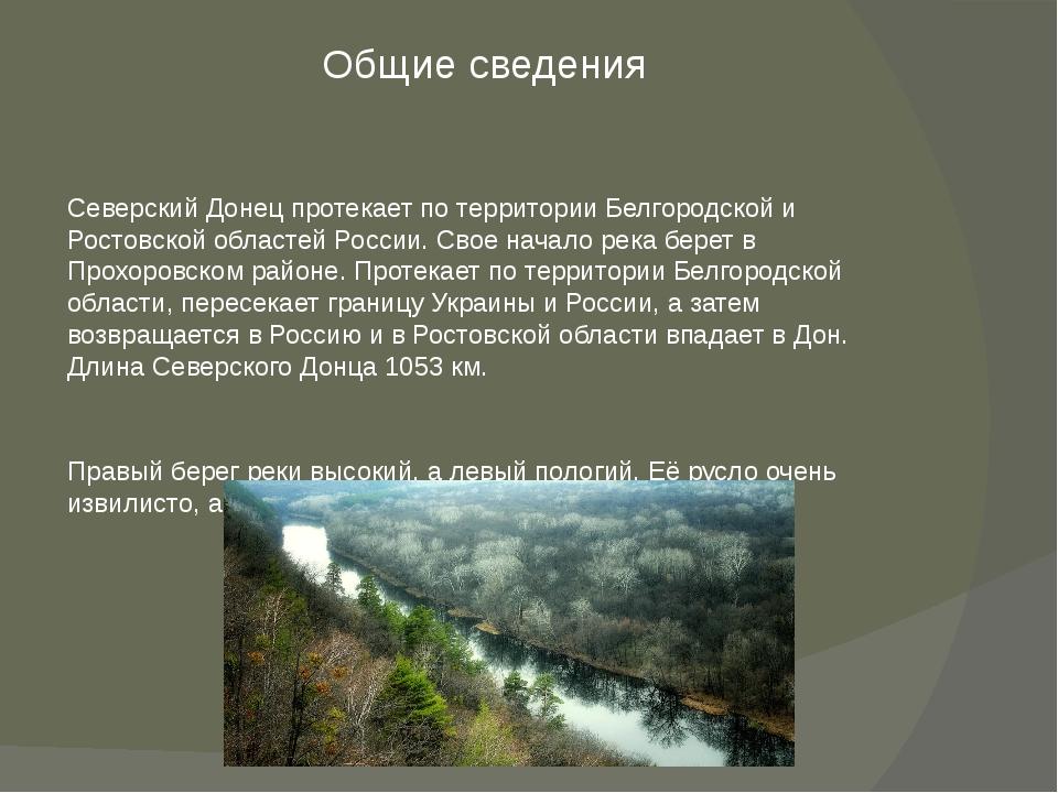 Общие сведения Северский Донец протекает по территории Белгородской и Ростовс...