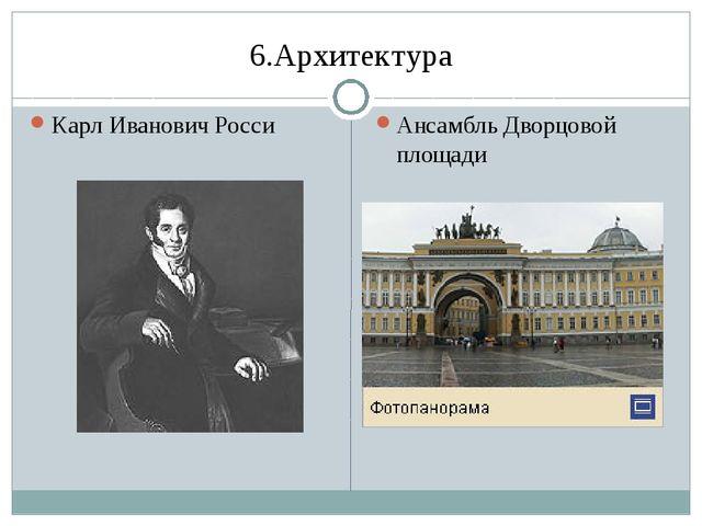 6.Архитектура Карл Иванович Росси Ансамбль Дворцовой площади
