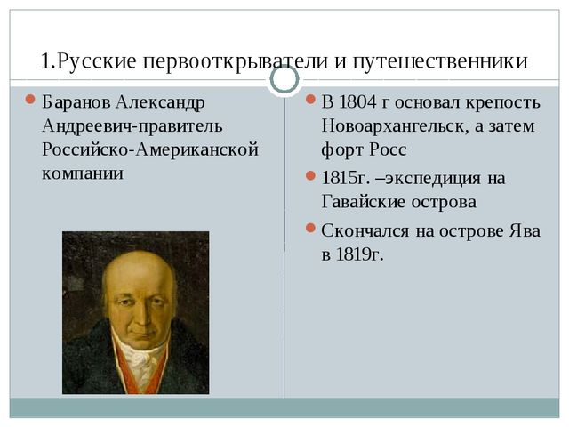 1.Русские первооткрыватели и путешественники В 1804 г основал крепость Новоар...