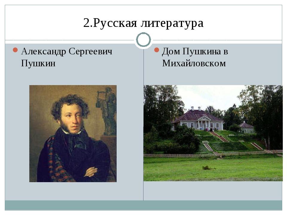 2.Русская литература Александр Сергеевич Пушкин Дом Пушкина в Михайловском